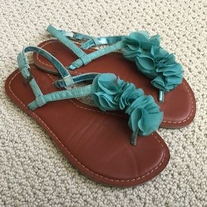 Teal ruffle thing sandals